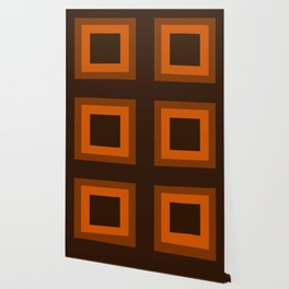 Dark Orange Square Design Wallpaper