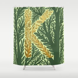 Botanical Metallic Monogram - Letter K Shower Curtain