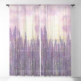 Lavender Field At Dusk Sheer Curtain