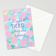 She needed a hero so that's what she became calligraphy on pastel jungle floral background Stationery Cards