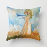 monet Throw Pillows featuring Monet Lady by KitaKita