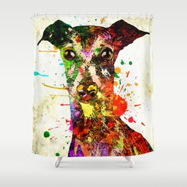 Greyhound Grunge Shower Curtain