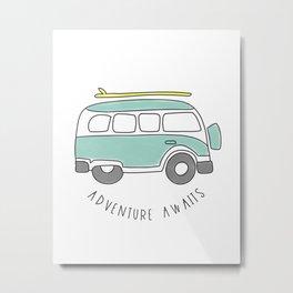 The Surf Life | Aqua Bus Metal Print