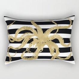 Gold Octopus on Black & White Stripes Rectangular Pillow