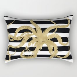 Gold Octopus on Black & White Stripes Rectangular Pillow