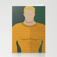 aquaman Stationery Cards featuring Aquaman by Loud & Quiet