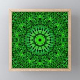 Deep Green Leaves Mandala Framed Mini Art Print