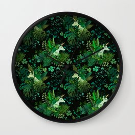 Irish Unicorn in a Garden of Green Wall Clock
