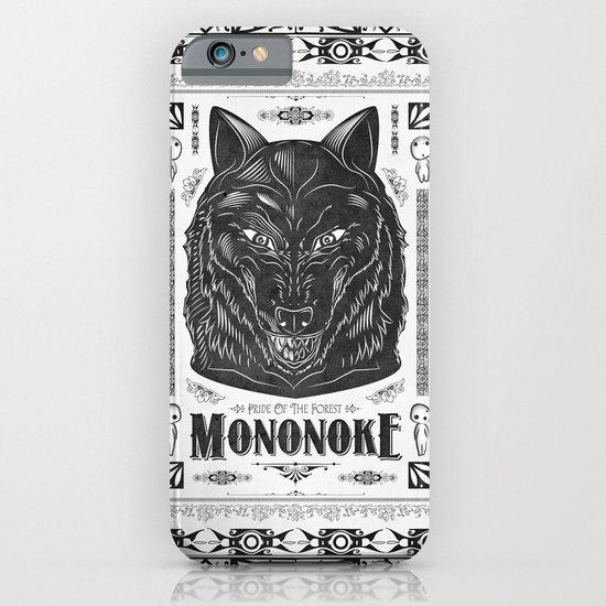 Mononoke Hime Wolf Pride Letterpress Line Work iPhone & iPod Case