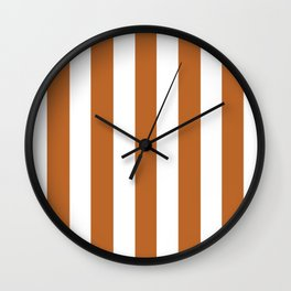 Ruddy brown - solid color - white vertical lines pattern Wall Clock