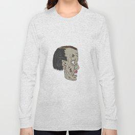 Zombie Head Side Drawing Long Sleeve T-shirt