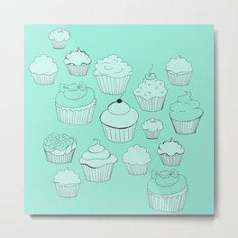 Minty Green Cupcakes! Metal Print