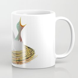 Hungry little bird and eggs in the nest Coffee Mug