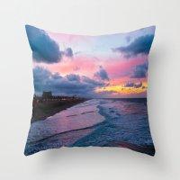 calendars Throw Pillows featuring Huntington Beach Sunrise 1/31/14 by John Minar Fine Art Photography