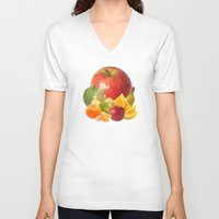 fruit V-neck T-shirts featuring Fruit by Bo Derks
