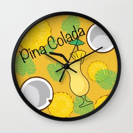 Pina Colada Cocktail Wall Clock
