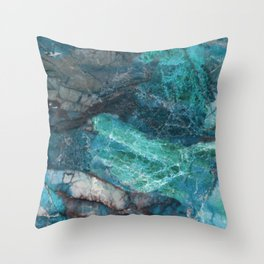 Cerulean Blue Marble Throw Pillow