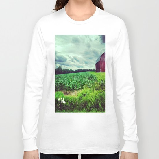 Red Barn on a Rainy Cloudy Day Long Sleeve T-shirt