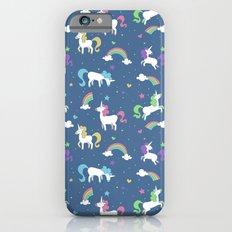 Unicorns and Rainbows - blue -tiny Slim Case iPhone 6