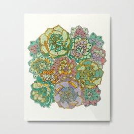 Blooming Succulents Metal Print