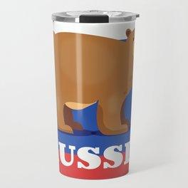 Russian bear cartoon travel poster Travel Mug