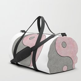 Yin Yang Esoteric Symbol Pastel Pink And Grey Duffle Bag