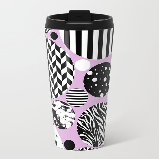 Eclectic Black And White Circles On Pastel Pink Metal Travel Mug
