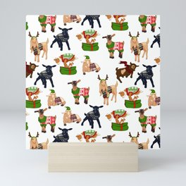 Christmas goats in sweaters repeating seamless pattern Mini Art Print