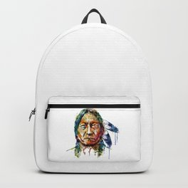 Sitting Bull watercolor painting Backpack
