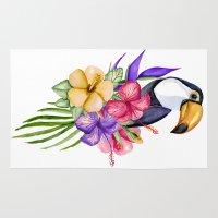 toucan Area & Throw Rugs featuring Toucan by Julia Badeeva