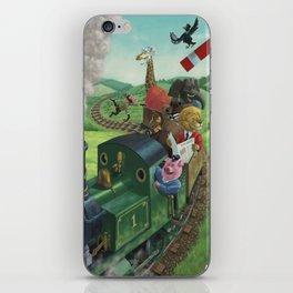 cartoon animals enjoying a train journey iPhone Skin