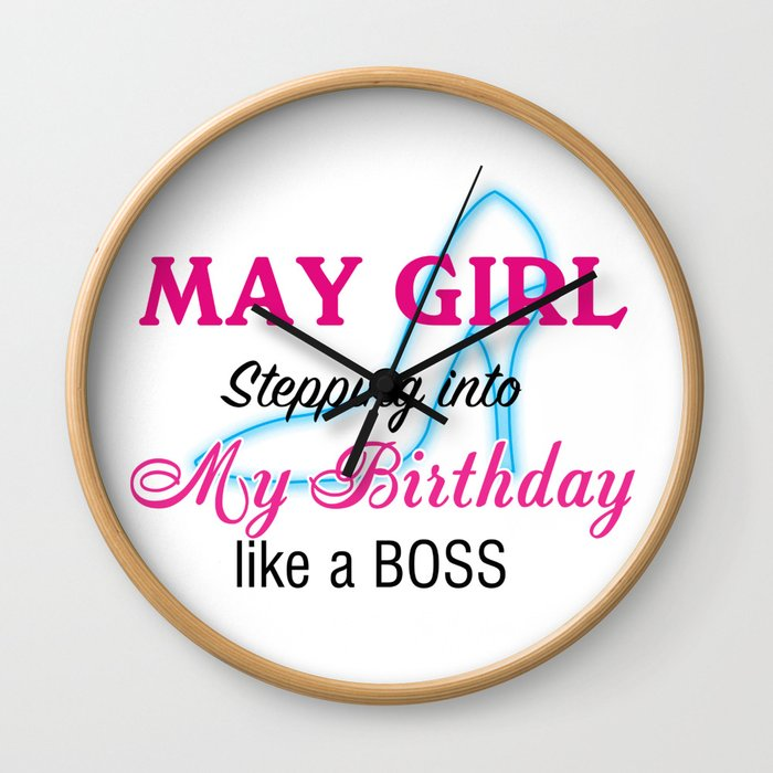 May Girl Birthday Wall Clock