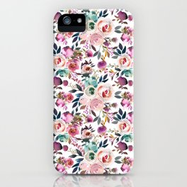 Hand painted blush pink purple watercolor floral iPhone Case