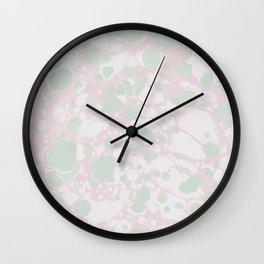 Pastel Paint Spill Pattern Green, Pink, White Wall Clock