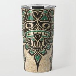 Vintage Teal Blue Haida Spirit Sea Turtle Travel Mug