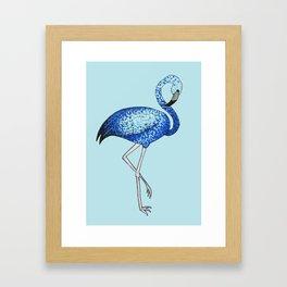 'Flaming-blue' Blue Pointillism Flamingo Illustration Framed Art Print