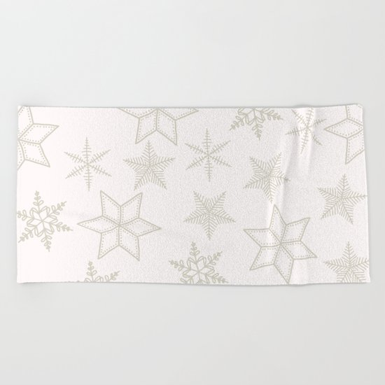 Beige Snowflakes on white background Beach Towel