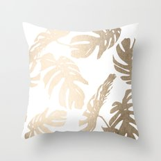 Simply Tropical Palm Leaves in White Gold Sands Throw Pillow