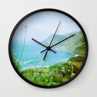big sur Wall Clocks featuring Big Sur by The Dalai Lomo