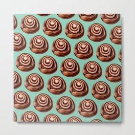 Cute Vintage Cinnamon Roll Pattern - Teal Metal Print