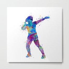 Girl Shot Put Throwing Art Colorful Watercolor Gift Sports Art Metal Print