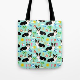 Tricolored Corgi Beach Day - cute tri corgi beach summer sun pattern Tote Bag