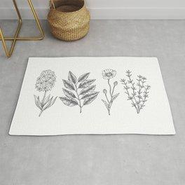 Hand Drawn Flowers n' Leaves Rug