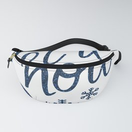 Let It Snow Blue Glitter Typography Winter Fanny Pack