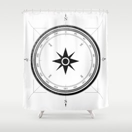 Black Compass on White Shower Curtain