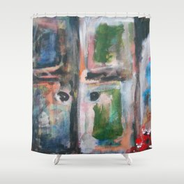 Door to heaven - colorful, gentle, rustic, acrylic, abstract art piece Shower Curtain