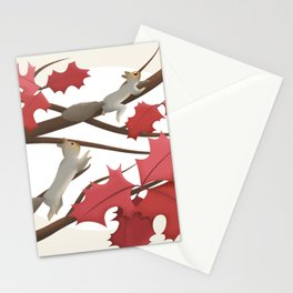 Autumn, squirrels and red leaves Stationery Cards
