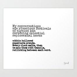 Conversation poem Art Print