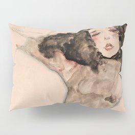 Egon Schiele - Black-Haired Girl with Lifted Skirt Pillow Sham