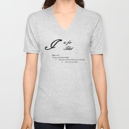 I is for Idiot, Minimalist Dictionary Style Insult Typography Unisex V-Neck